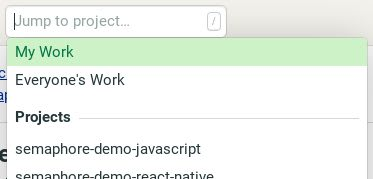Jump to project drop-down