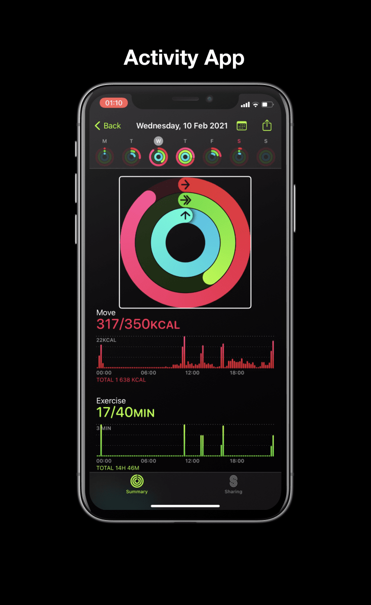 Apple Activity app: small donut charts for activity every day of the week, large donut chart for current day, bar chart for the current day broken down by the hour