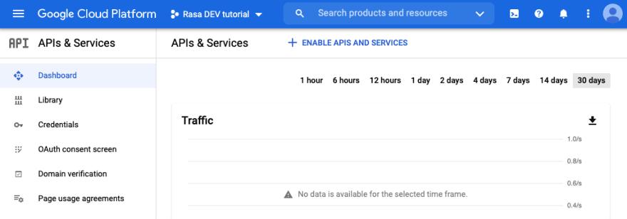 APIs & Services screen