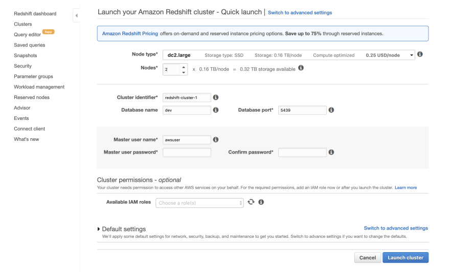 Using Amazon Redshift as your Data Warehouse