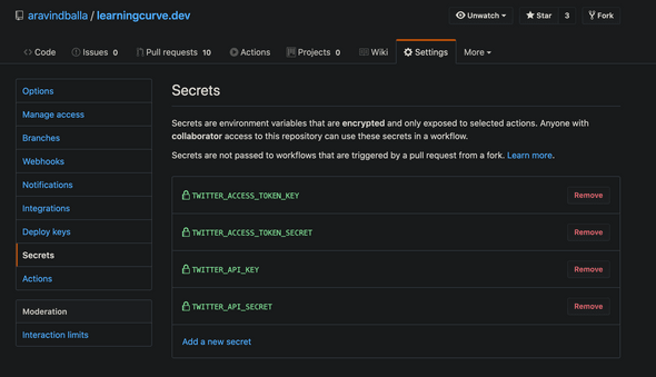 Screenshot of Github Repo settings
