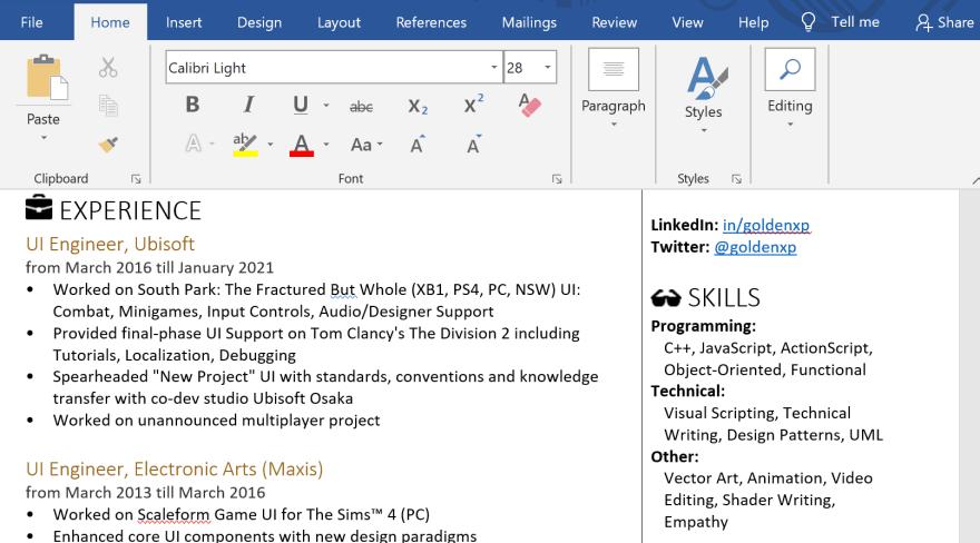 Word document version of JSONResume