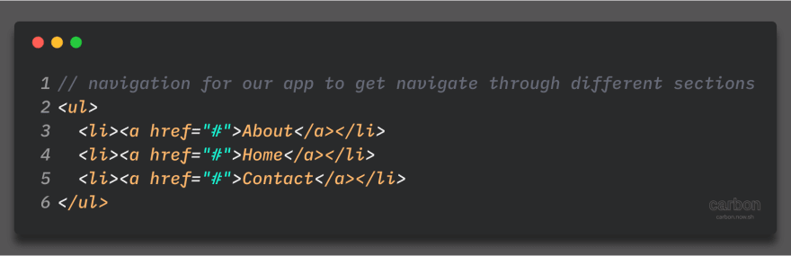 Simple navigation for navigating through sections.