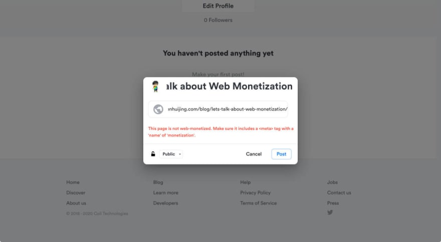 Notification message from Coil informing that the link you are posting is not web monetized