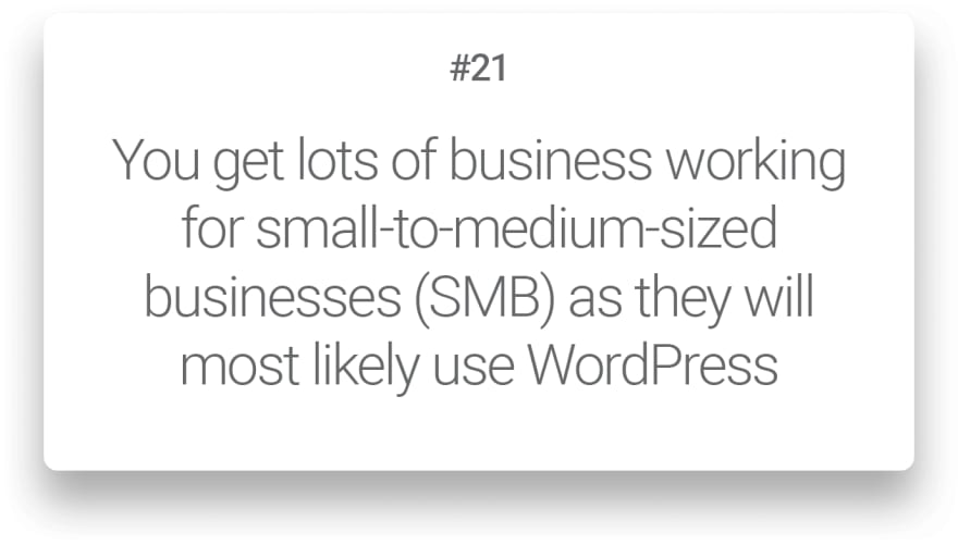 You get lots of business working for small-to-medium-sized businesses SMB as they will most likely use WordPress