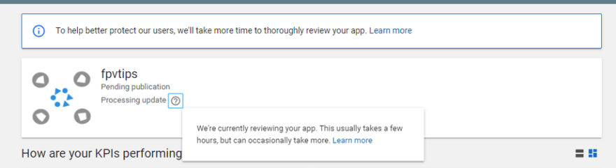 Google Play additional app review pending