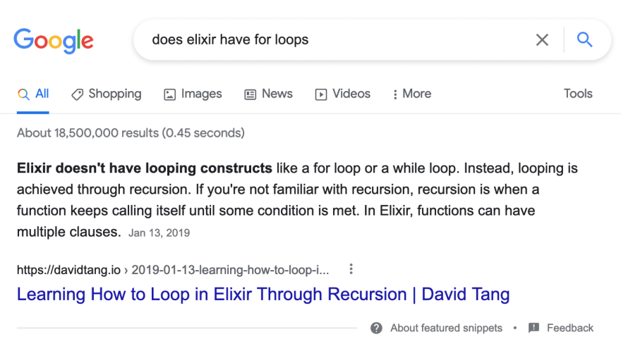 Screenshot of Google search results for 'does elixir have for loops'