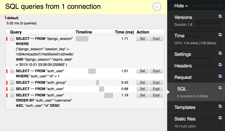 Image of django-debug-toolbar