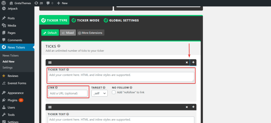 Customize quantity of ticks in your news tickers.