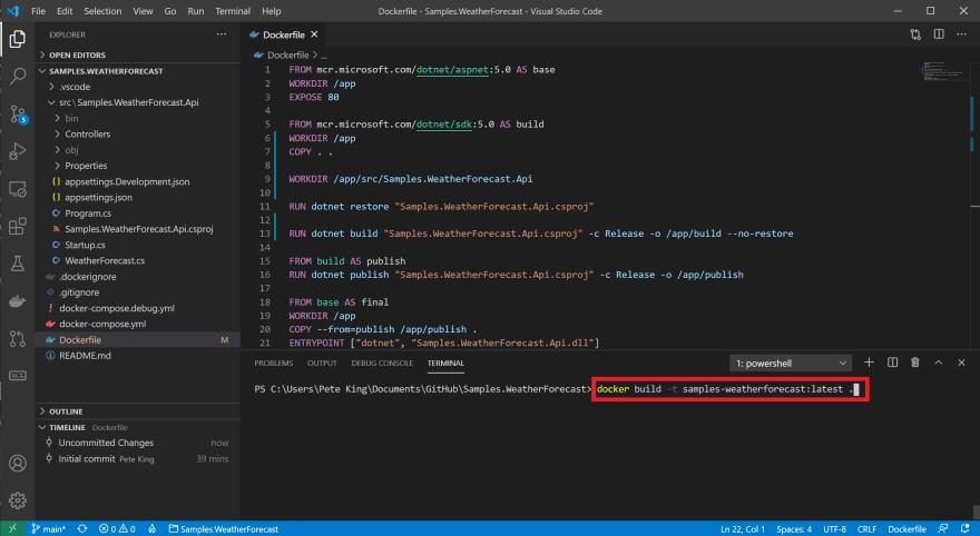 VS Code Dockerfile build