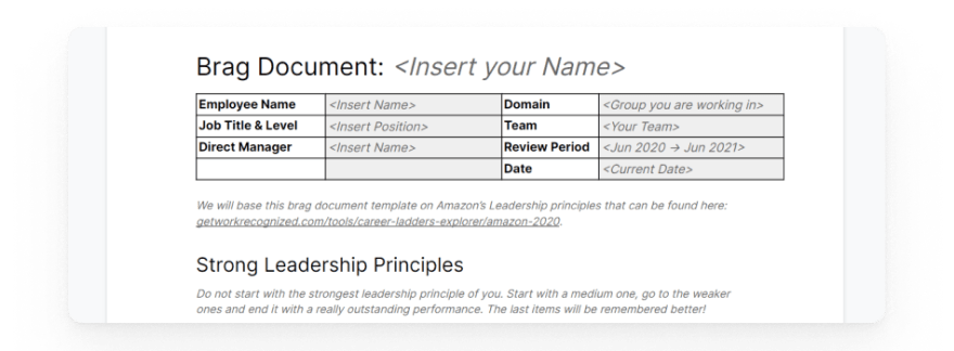 A preview of the third brag document template based on leadership principles