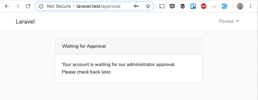 Laravel: Approve New Registered Users from Administrator - DEV