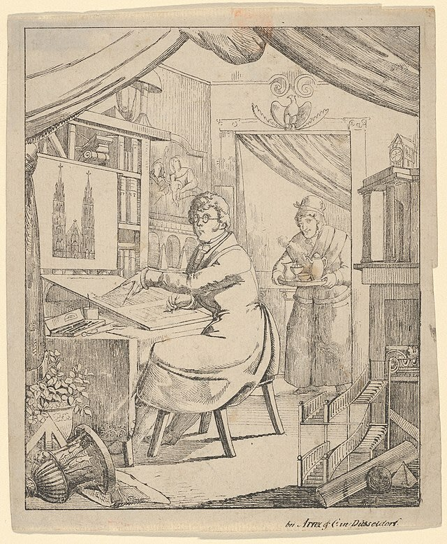 Title: An Architect in His Studio. Old ink drawing from the 19th century showing a man in a wealthy-looking coat sitting in front of his desk in his small studio room and working on a blueprint for a cathedral. You can see one of his employees in the background serving him tea