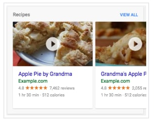 rich search result example from google