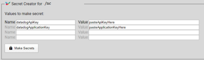 Datadog secret creator for devops datadogApiKey ApplicationKey