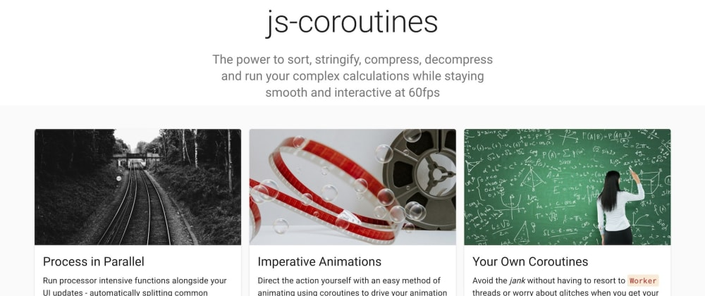 Cover image for js-coroutines passes 100 GitHub stars, gets own website, API docs, typings + more examples