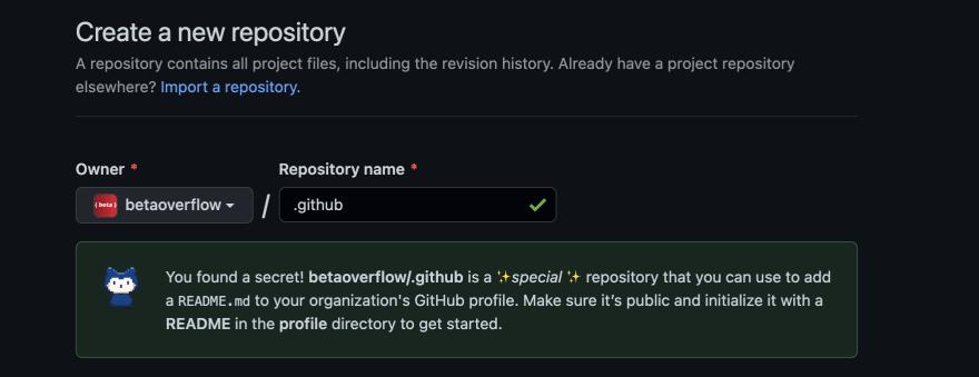 Github organisation readme repository name