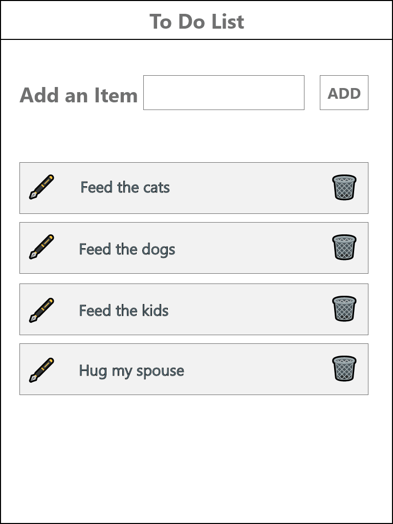 Tablet view of the Todo app's wirefreame