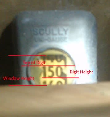 Picture of gauge with indicators for height and position of digits