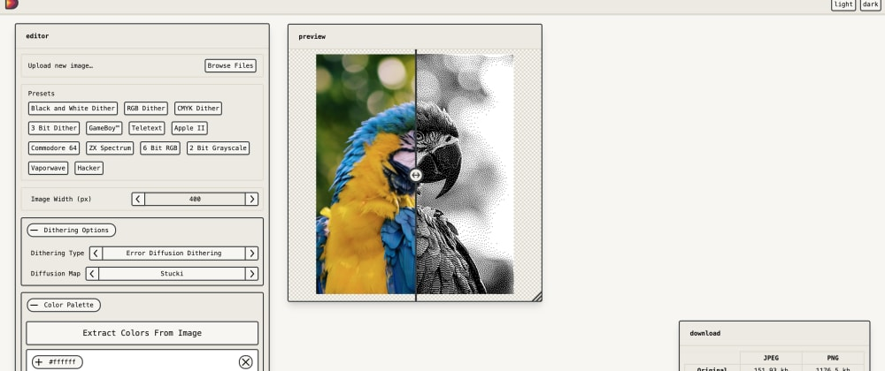 Cover image for I Built An Online Image Dithering Tool — Dither Me This!