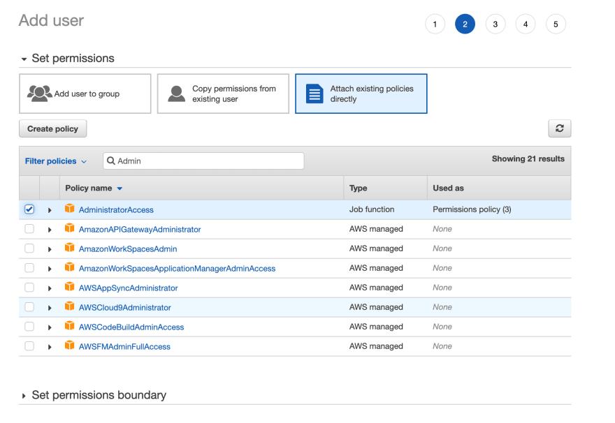 AWS Console — IAM user permissions