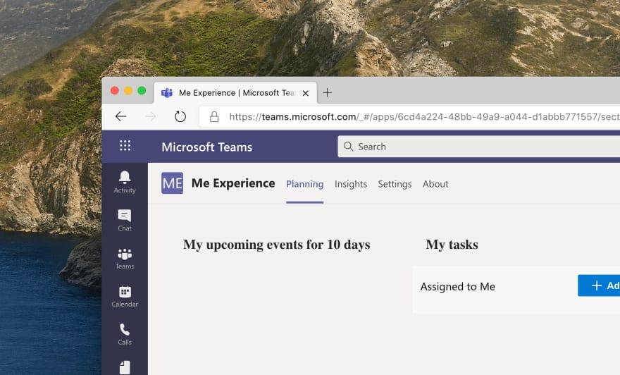 Microsoft Teams app with the tab-header bar