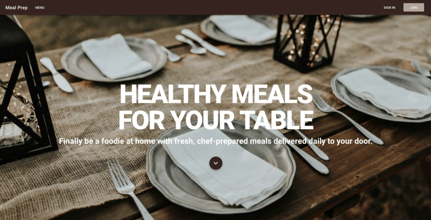 The home page for the Meal Prep Application