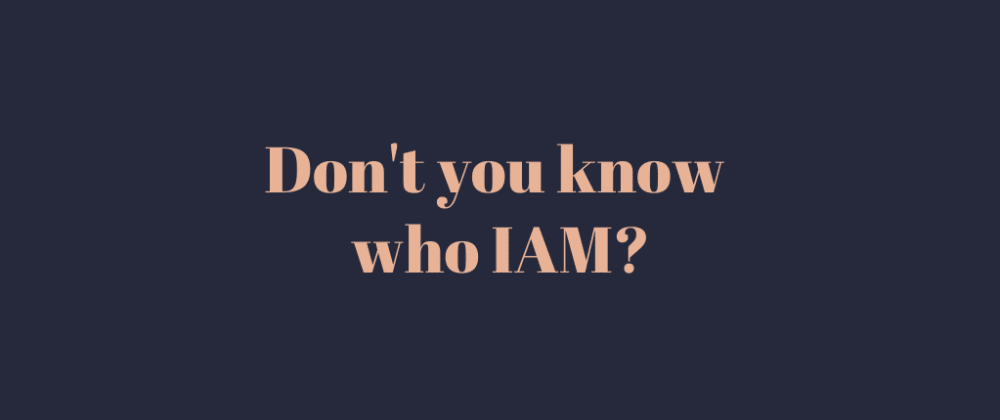 Cover image for Don't you know who IAM?