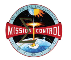 Mission Control patch showing space craft taking off from Earth