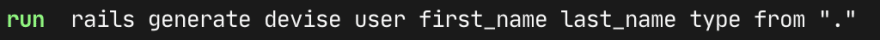 Terminal running Devise install on the model name I passed in