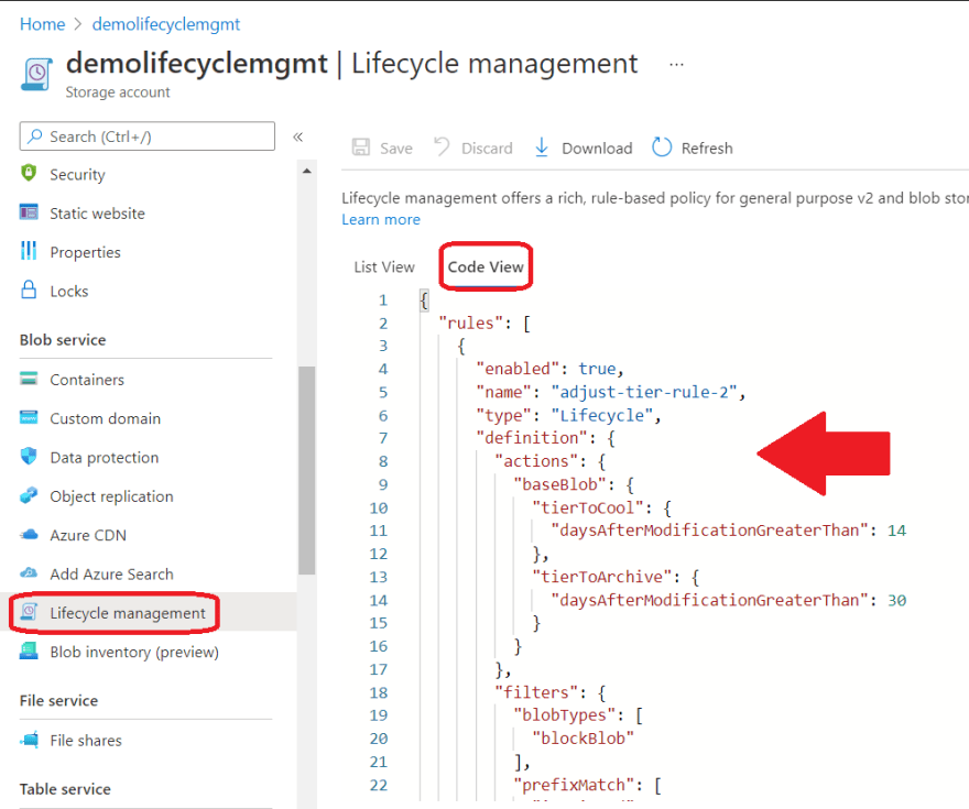 lifecycle management code view