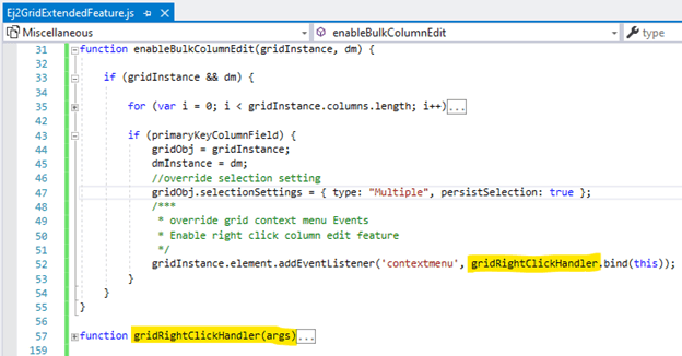 Bind the customer gridRightClickHandler() to the contextmenu event of the grid