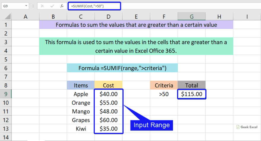 Formulas to sum the values that are greater than a certain value