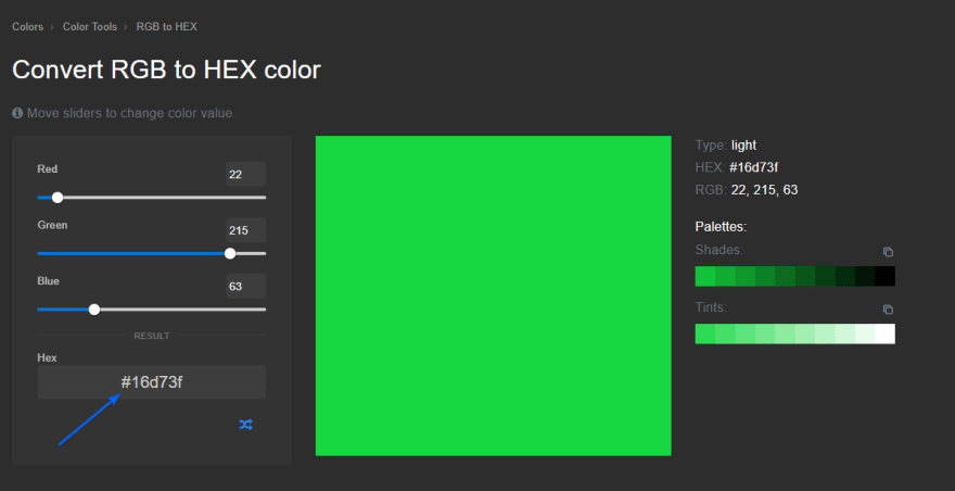 Convert RGB to HEX color result
