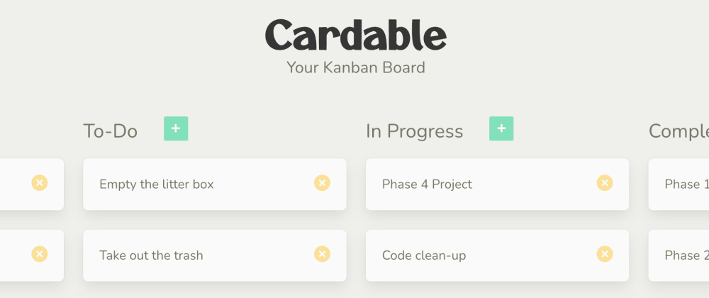 Cover image for Cardable: Basic Kanban Board made with Javascript and Rails