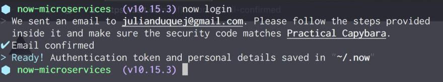 Successful login from Terminal