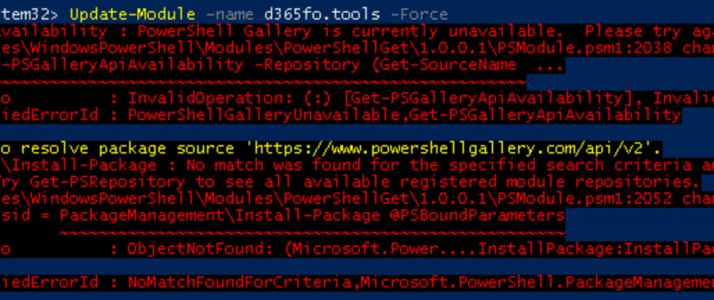 Cover image for PowerShell disabled support for TLS 1.0 for the Gallery - Update-Module and Install-Module broken