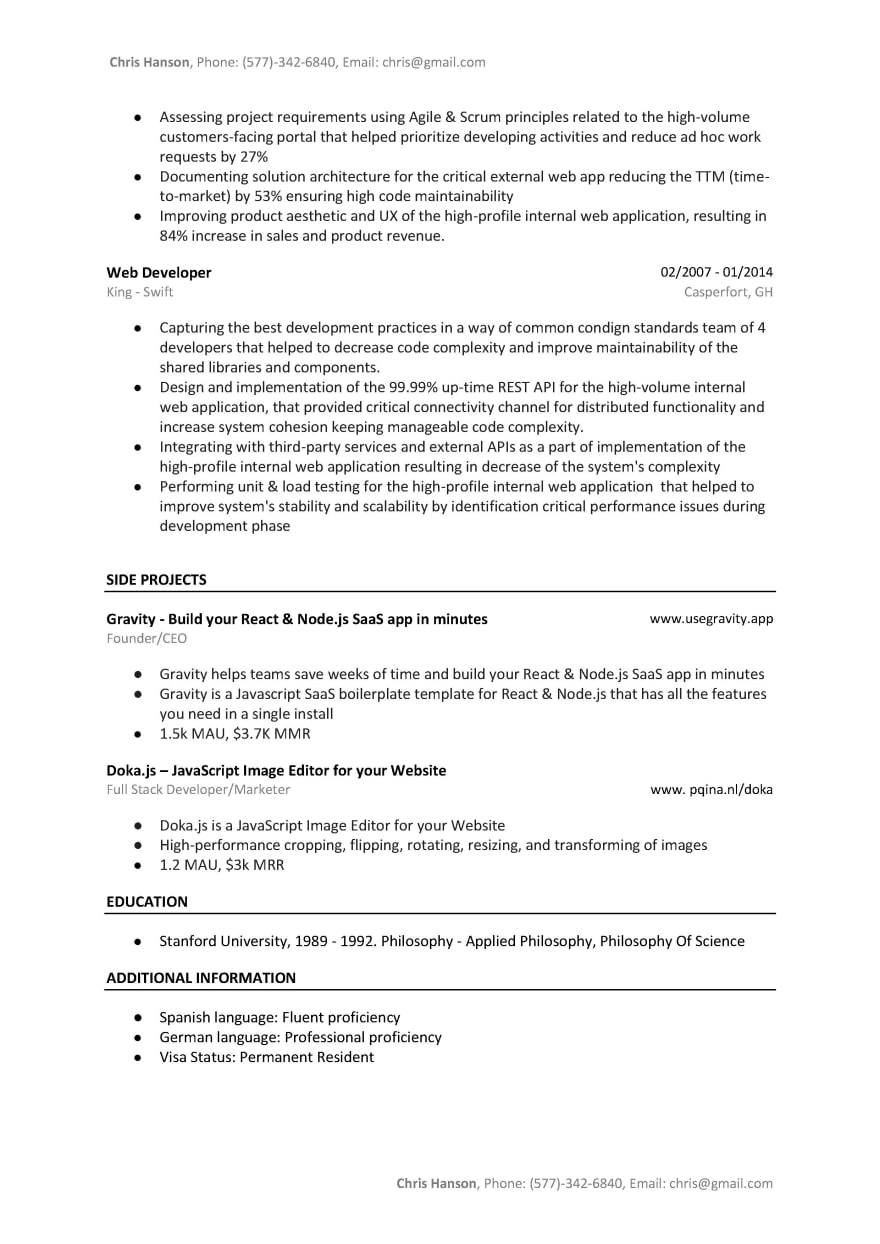 Angular Developer Resume Sample & Template (A/B Tested Word
