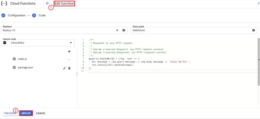 Google cloud functions edit interface