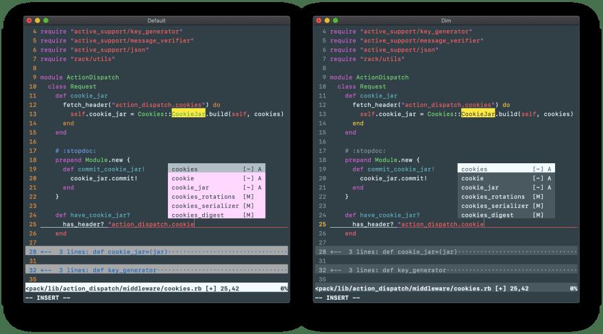 Vim's default color scheme compared to Dim