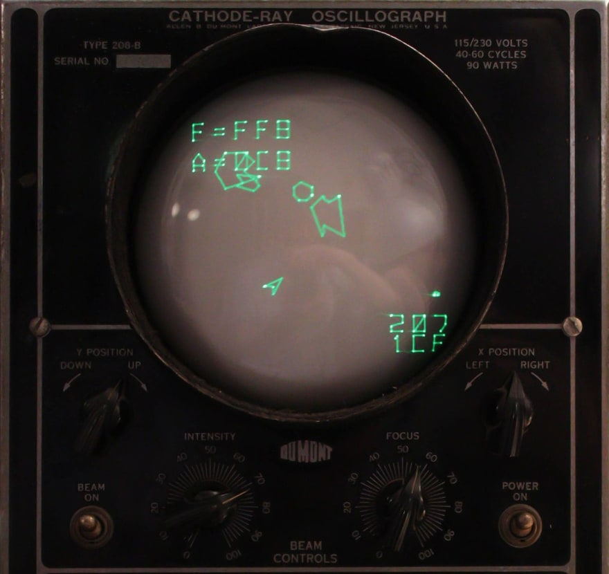 Asteroids-like video game played on an oscillograph