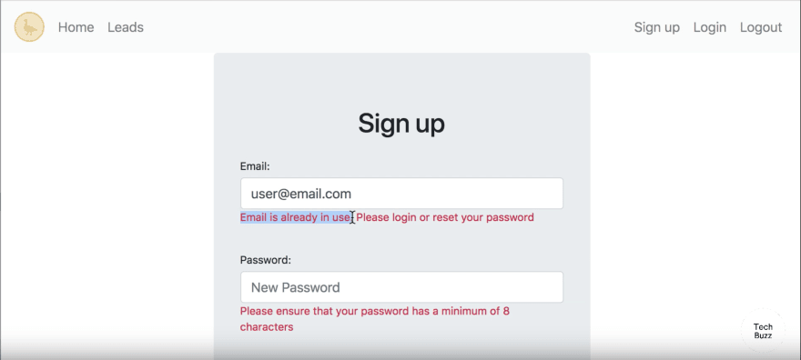 Implementing form validations - snippet from tutorial