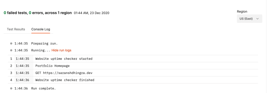 Postman monitor Run results