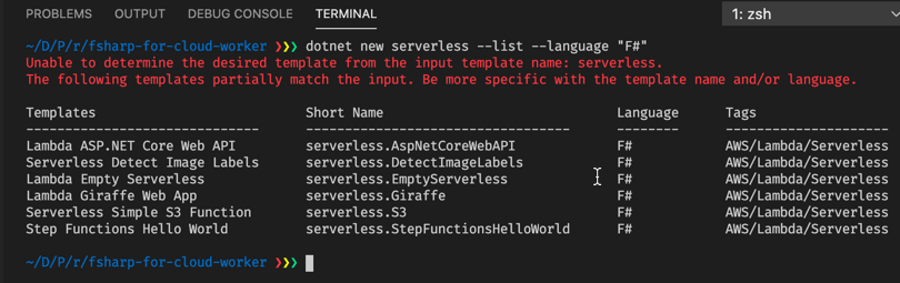Serverless templates for F#