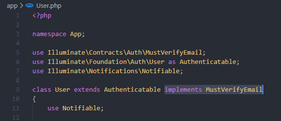 add implements MustVerifyEmail