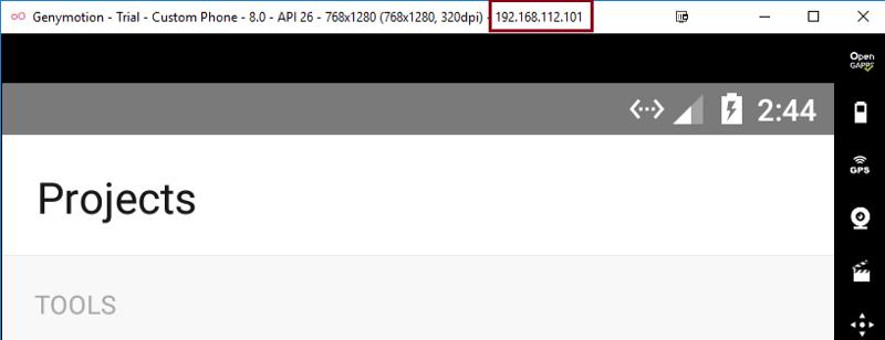 Figure 3: Genymotion Android emulator's IP address