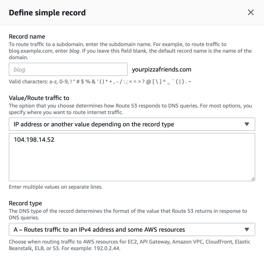 Route 53 modal for adding new DNS record