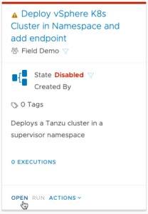 vRA Deploy Tanzu Guest Cluster - Code Stream - Pipeline - Create Tanzu Cluster - Open