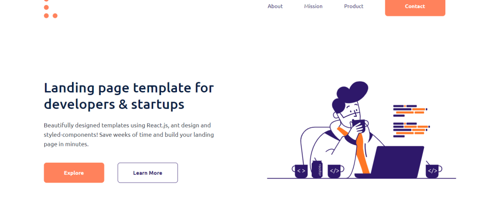 Cover image for Free React landing page template