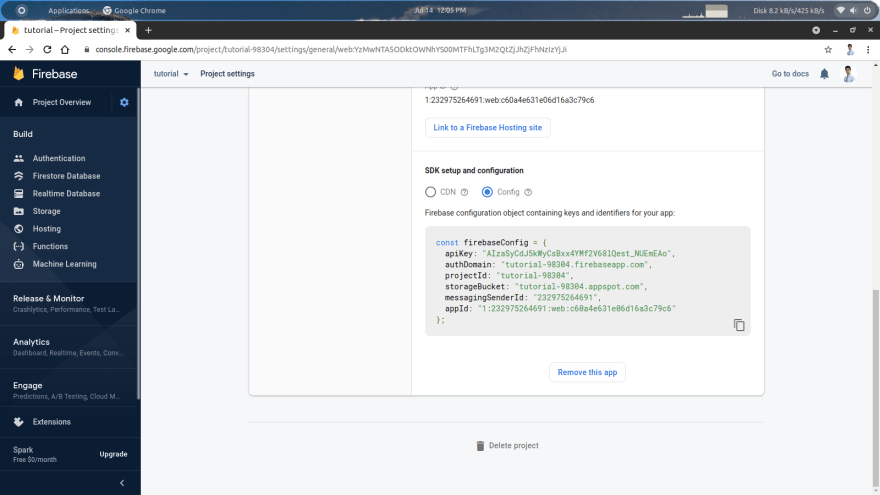 Firebase SDK config